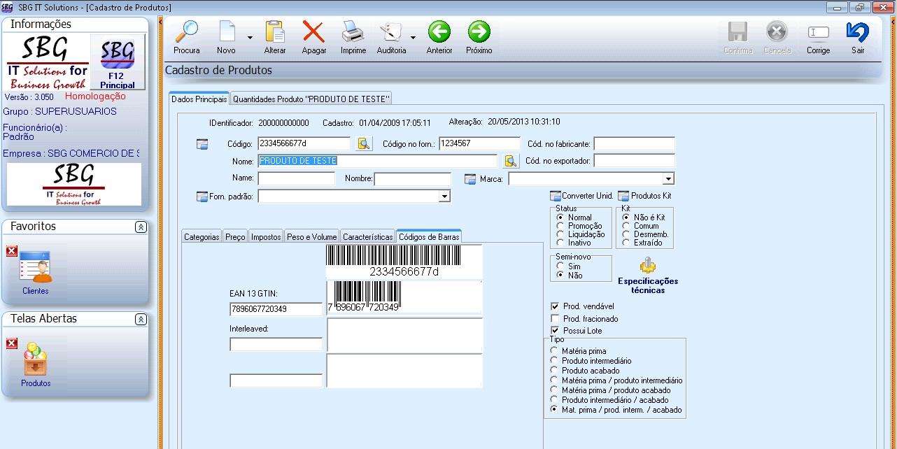 Sistema de Gestão ERP Indústria e Distribuidora Alimentícia - Software Alimentos