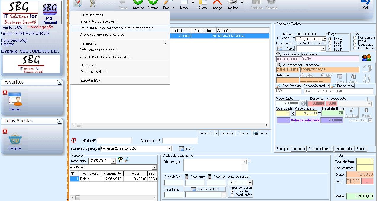 Sistema Comercial - Importação de XML na Compra
